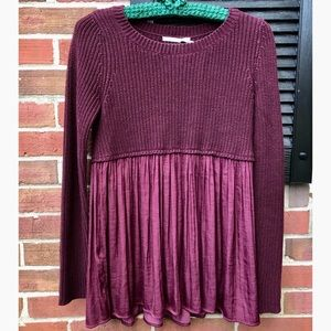 Urban Outfitters babydoll style burgundy sweater
